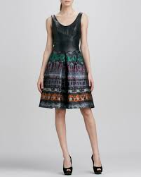 yoana baraschi yoana baraschi leather bodice print skirt dress