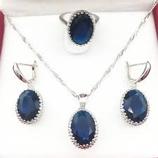 blue stone necklace earrings images Oval montana blue stone jewelry sets for women 925 silver necklace jpg