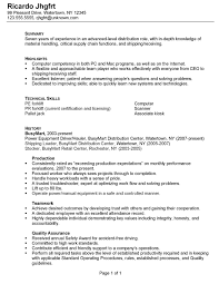 Summary Example Resume by Brilliant Ideas Of Sample Resume Warehouse With Cover Letter