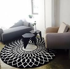 table basse chambre mode scandinave tapis rond noir et blanc salon table basse chambre