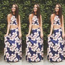 women two piece dress crop top and long floral print skirt