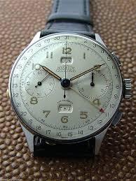 vintage stainless angelus chronodato calendar chronograph
