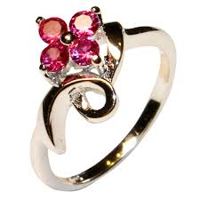 flower rings images Ruby pink flower promise ring red pink cubic zirconia jpg