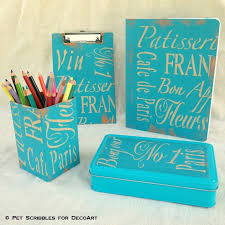 Teal Desk Accessories Inspired Stenciled Desk Accessories Pet Scribbles