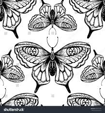 seamless pattern black lace silhouettes butterflies stock vector