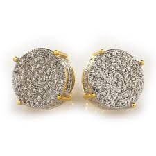 18k gold earrings 18k gold iced out stud earrings niv s bling