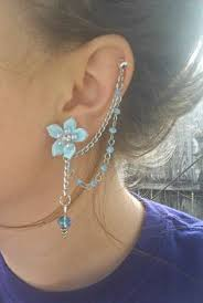 earring with chain to cartilage birds bow with chains cuff cartilage earrings cartilage