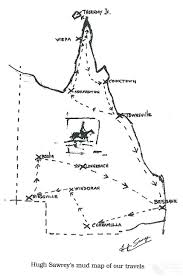 Map Of Queensland Hugh Sawrey U0027s Mud Map Of Outback Travels 1993 Queensland