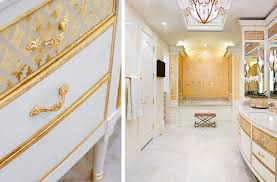 white and gold neoclassical master bath tara dudley interiors