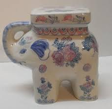 vintage porcelain elephant plant stand mini garden stool flowers