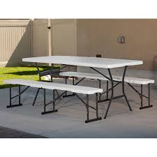Lifetime 6ft Folding Table Lifetime 6 Ft Fold In Half Table With 2 Fold In Half Benches