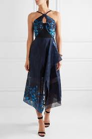 tonal blue fil coupé organza black cady zip fastening through