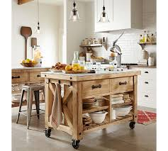wood kitchen island hamilton reclaimed wood marble top kitchen island pottery barn