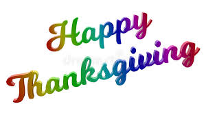 happy thanksgiving day calligraphic 3d rendered text illustration