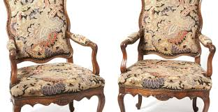 Antique Upholstered Armchairs 18 Century Italian Pair Of Rococo Carved Walnut Needlepoint