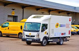 electric truck renault and french post office test electric truck with fuel cell
