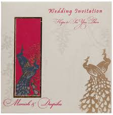Invitation Cards Online India Multi Faith Indian Wedding Invite In Ivory With Peacock Design