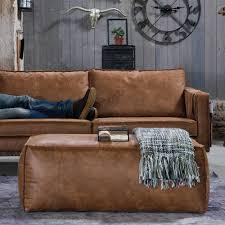 sofa leder braun sofa hocker lilith in braun aus recyceltem leder pharao24 de