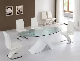 Delighful Round Glass Dining Table For  C And Decorating - Modern glass dining room furniture