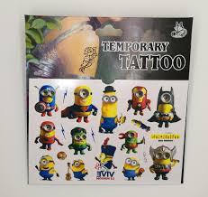 batman minion tattoo minion temporary tattoo sticker design c party my malaysia