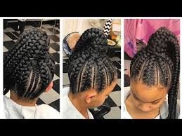 hair braided into pony tail feed in braids into ponytail youtube