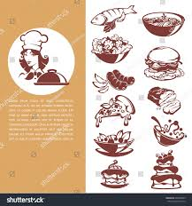 common food beautiful chef meal collection stock vector 606462689