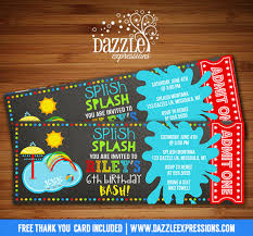 printable pool party splash pad chalkboard ticket birthday