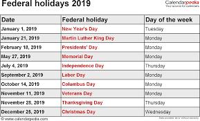 federal holidays 2019