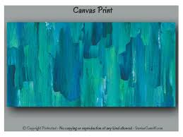 large abstract wall art teal blue canvas print set blue and