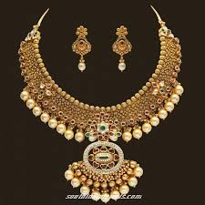 gold pearl necklace set images Gold pearl necklace set south india jewels jpg