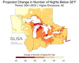 Map Of Michigan Lakes by Great Lakes Regional Climate Change Maps Glisa