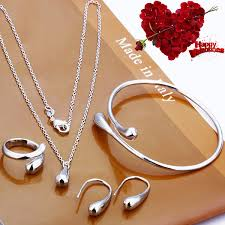 silver necklace bracelet set images 925 sterling silver hi shiny tear drop italian design jewelry set jpg