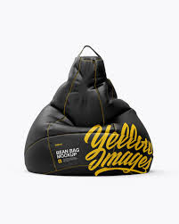 leather bean bag mockup in packaging mockups on yellow images