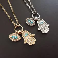 eye pendant necklace images Hamsa hand evil eye pendant necklace rhinestone hand of fatima jpg