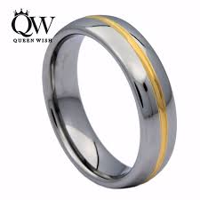 couples wedding bands queenwish 6mm white tungsten ring gold color center grooved