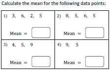 mean worksheets finding average