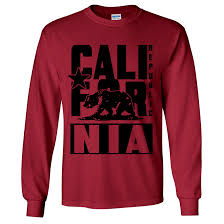 Cardinal Flag California Republic Flag Black Retro Bold Text Long Sleeve Shirt