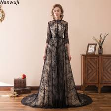 Fashion Black Lace Muslim Evening dress 2018 Long sleeve Evening