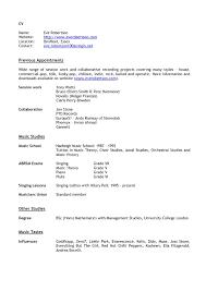 Types Of Resume Samples by Singer Resume Sample Virtren Com