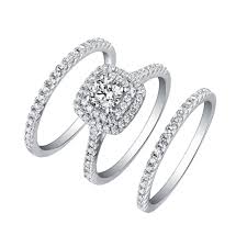 ring sets tinnivi sterling silver cut created white sapphire halo 3pc