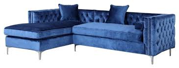 Blue Sectional With Chaise Da Vinci Velvet Button Tufted Left Facing Sectional Sofa