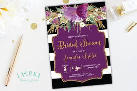 white gold and purple wedding bridal shower invitation floral black white stripe bridal