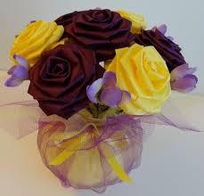 create your own cutie pot ribbon flower centerpiece for wedding