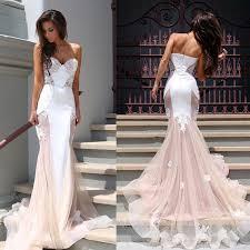 pink wedding dress strapless mermaid pink wedding dress with white lace