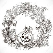 festive decorative halloween wreath graphic drawing royalty free