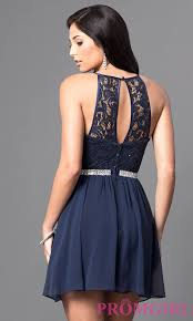 short navy blue lace homecoming dress promgirl