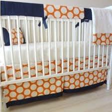 Orange Crib Bedding Navy Aqua Orange Crib Bedding With Stripes Print And