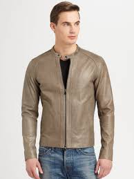 mens leather biker jacket vince leather biker jacket in gray for men lyst