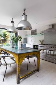 modern industrial kitchens stylish victorian industrial kitchens yellow table and fulham