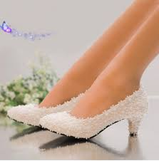 2 inch heel wedding shoes new arrival pearl white pink lace flower heel bridal shoes